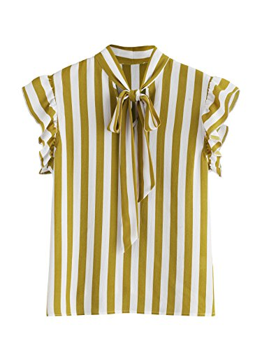- Floerns Women's Sleeveless Bow Tie Striped Summer Chiffon Blouse Top Yellow and White L