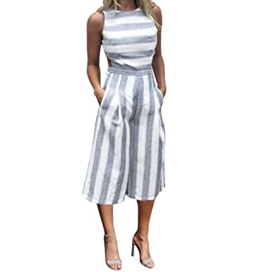4f00a9b0206 Kingfansion Women Women Elegant Wide Leg Long Pants Party Jumpsuits Romper  Striped (S