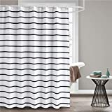 Black Fabric Shower Curtain Seavish Fabric Shower Curtain, Black and White Striped Geometric Cloth Shower Curtains for Bathroom Monogrammed Simply Design, Heavy Weighted and Waterproof, 72 x 72
