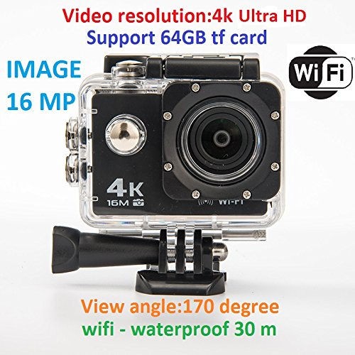LTT Pro 4 K Ultra HD 30 fps Support 64 Gb Tf Card 2.0 inch LCD WiFi Waterproof 30 m Action Camera (Direct from Factory) Black