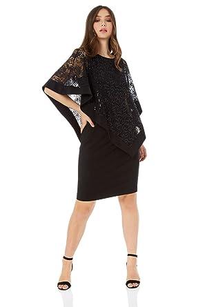 c3d99de0feaf Roman Originals Women Sequin Lace Boat Neck Knee Length Little Black Dress  - Ladies Cape Overlay Blouses Smart Formal Christmas New Year Special  Occasions ...