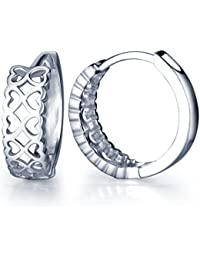 Huggie Earrings 925 Sterling Silver Small Hoop Infinity Shape Hollow Love Heart Cartilage for Women