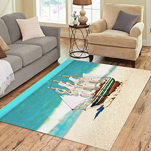 - Semtomn Area Rug 2' X 3' Blue Boat Souvenir Conceptual Model of Ship in The Sand Near Ocean Luck Home Decor Collection Floor Rugs Carpet for Living Room Bedroom Dining Room