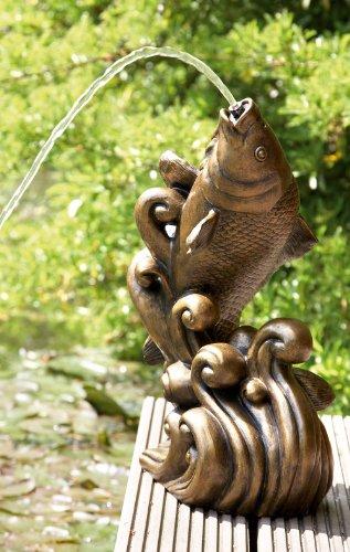 Dancing Koi Water Statue Gold Color