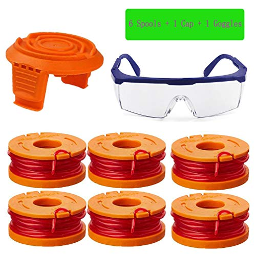TOPEMAI 0 065 WA0010 Replacement Trimmer Spool Line for Worx WG154 WG163  WG160 WG180 WG175 WG155 WG151 String Trimmer (6 Spools + 1 Cap + 1 Goggles)