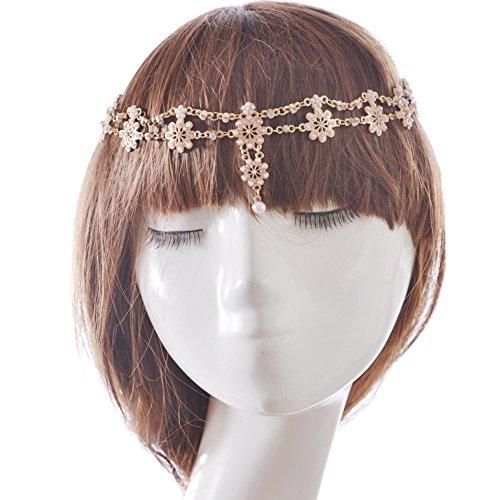 [TS Unique Fashion Metal Head Chain Jewelry Chain Beaded Headband Head Piece Flapper Hair Band (B)] (1920s Dresses Cheap)