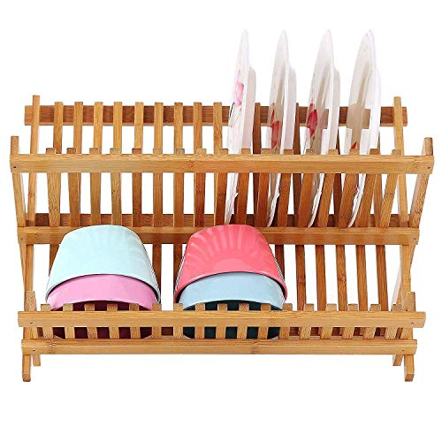Dish Drainer Collapsible Bamboo Dish Drain Rack For Kitchen Counter (12 slots 13.5x12x9.5)