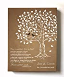 MuralMax - Personalized Family Tree & Lovebirds, Stretched Canvas Wall Art, Make Your Wedding & Anniversary Gifts Memorable, Unique Decor, Color Brown - Size 24x30 - 30-DAY