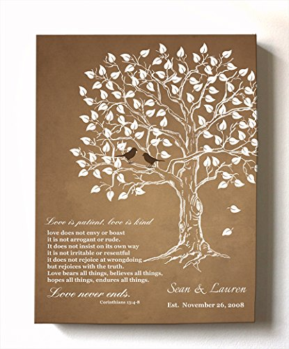 MuralMax - Personalized Family Tree & Lovebirds, Stretched Canvas Wall Art, Make Your Wedding & Anniversary Gifts Memorable, Unique Decor, Color Brown - Size 11x14 - 30-DAY