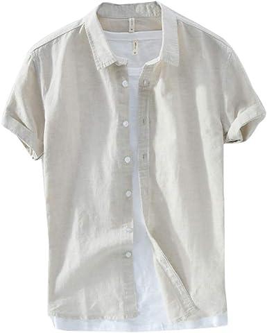 Hombre Camisa Casual Lino Manga Corta Camiseta Basica Camisas Tops Blusa Suelta: Amazon.es: Ropa y accesorios