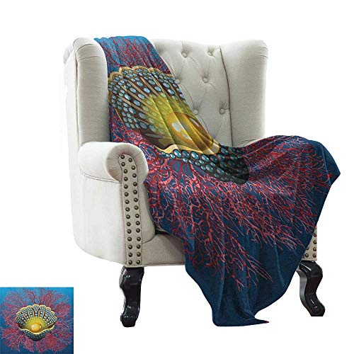 BelleAckerman Yoga Blanket Pearls,Giant Majestic Unique Pearl Mussel and Ivy Coral Deep Down in The Sea Art Print, Blue Red Golden Microfiber All Season Blanket for Bed or Couch Multicolor 50