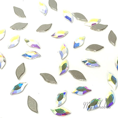 Crystal Hot Fix Leaf Diamond (CRYSTAL AB (001 AB) Swarovski 2797 Diamond Leaf - 8x4mm Flatbacks No-Hotfix Rhinestones 10 pcs *FREE Shipping from Mychobos (Crystal-Wholesale)*)