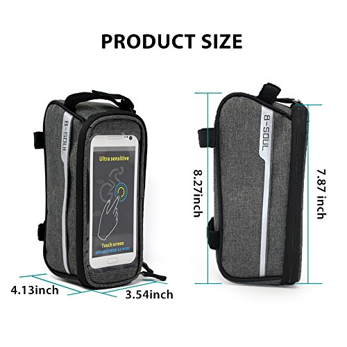 Sporcis Bicycle Bag, Bike Handlebar Bag TPU Sensitive Touch Screen Bike Frame Bag Cycling Front Tube bag Mobile Phone Holder for any Smartphones Below 6.0 Inch, 1L (Gray) by Sporcis (Image #7)
