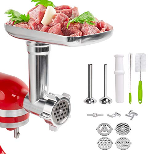 Decorlife Metal Food Meat Grinder Attachment Multi-function Kit 16 Pcs For KitchenAid Stand Mixer, Durable Metal, Easy To Clean And Assemble, Grind Pork, Beef, Making Sausages, Hamburgers, Meatballs