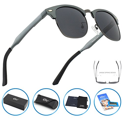 CGID GD58 Al-Mg Alloy Clubmaster Style Polarized Sunglasses UV400,Sun Glasses with Metal - Colonel Sanders Glasses