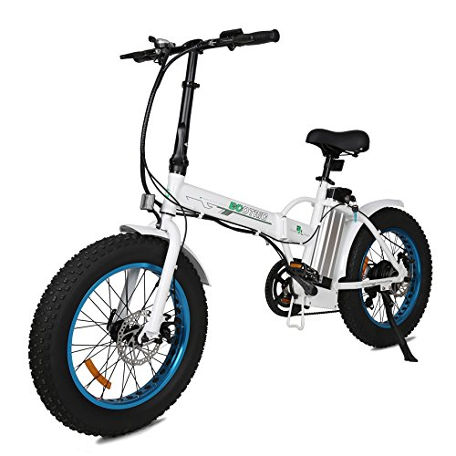 ECOTRIC 20″ New Fat Tire Folding Electric Bike Beach Snow Bicycle ebike 500W Electric Moped Electric Mountain Bicycles … (White Blue)
