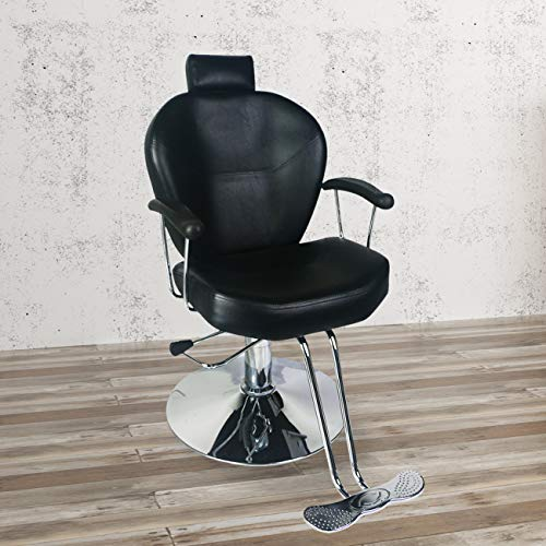 DOIT Barber Chair Beauty Spa Shampoo Hair Styling Reclining Hydraulic Chair Equipment Black
