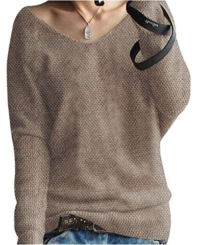 Liny Xin Women s Cashmere Oversized Loose Sexy Big V-Neck Batwing Sleeve  Warm Pullover Knitted 1ea2de6d8