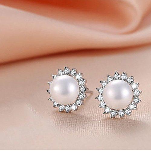"""""""Sunshine"""" 8 9mm Freshwater Pearl with AAA Zirconia 925 Sterling Silver Stud Earrings (Earrings)"""