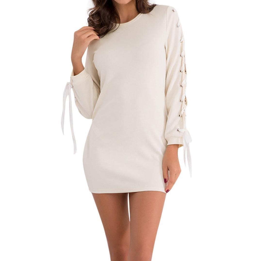 Spbamboo Clearance! Women Ladies Casual Cross strap Long Sleevel Mini Paty Dress