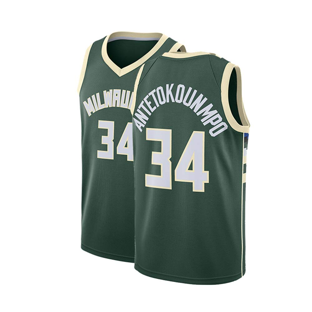 watch 4b250 29aca Fysasf Mens Basketball Antetokounmpo Jersey Milwaukee #34 Giannis Adult