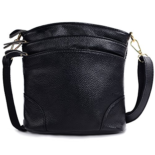 Small Genuine Leather Purse Fashion Shoulder Bag with Zipper Crossbody Bag (Black) by Vintga