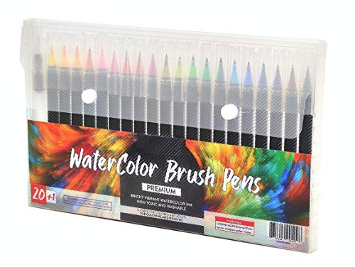 Brush Pens Brush Markers for Calligraphy Watercolor Brush Pen Set of 20 Colors + 1 Water Brush Pen Art Painting Drawing Coloring Brush Tip Markers for Kids and Adults (21)