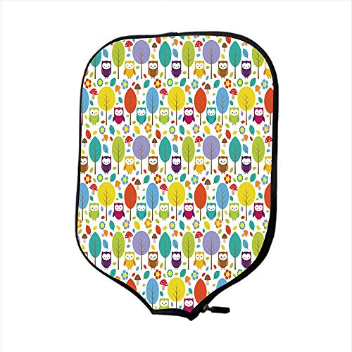 (Neoprene Pickleball Paddle Racket Cover Case,Nursery,Colorful Forest with Owls Trees Leafs Mushrooms and Flowers Cute Drawing Style Decorative,Multicolor,Fit For Most Rackets - Protect Your Paddle)