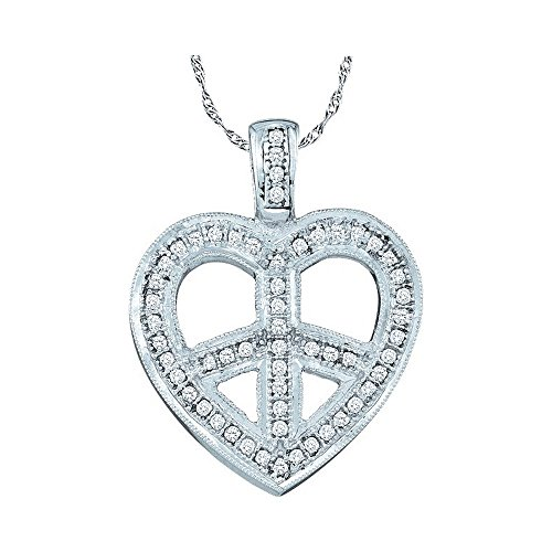 Roy Rose Jewelry 10K White Gold Womens Round Diamond Heart Peace Sign Pendant 1/6-Carat tw - Diamond Peace Pendant
