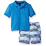 Nautica Baby Boys Solid Polo with Pattern Pull on Short Set,Sky Blue,18 Months
