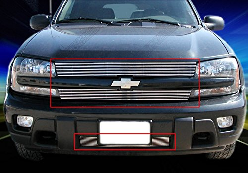 Fedar 02-05 Chevy Trailblazer LT/LS/SS Bolt Over and Replacement Combo Billet Grille Grill 3-pc Set-Polished #320133134 (Chevy Blazer Back Bumper compare prices)