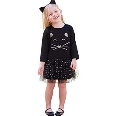 new concept 4f74f 54842 Mädchen kleider Schöne kleider für kinder Longra kindermode kinderkleidung  Mädchen Katze Pailletten Tutu Prinzessin Dot Kleid Festliche Kinderkleider