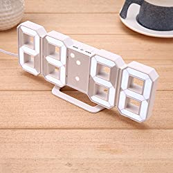 GESIMEI LED Digital Alarm Clock , USB Wall / Desk Clock, Easy to Read , 12/24 Hour Display, Alarm, Snooze, Night Mode, Brightness Adjustable, White