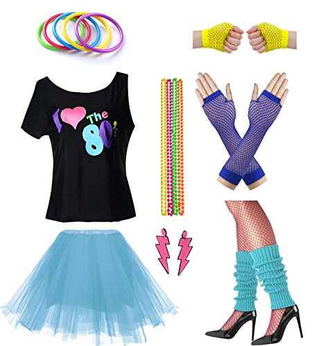 Women I Love The 80's Disco 80s Costume Outfit Accessories Set (S/M, Blue)