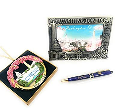 President Donald Trump Signature Presidential Pen; Christmas Ornament and Washington DC Picture Frame set (3)
