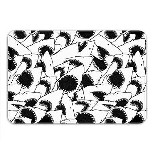 Shark Party Theme White Bath Mat Funny Home Decor JAWS Urban