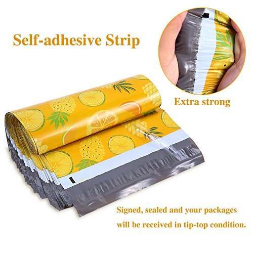 Shipping Poly Bags, Ohuhu 10x13 100-Pack Pineapple & Orange Designer Poly Mailers, Self Sealed Shipping Envelopes for Gifts, Boutique Custom Bag Packages with Self Adhesive Strip, Water Resistant