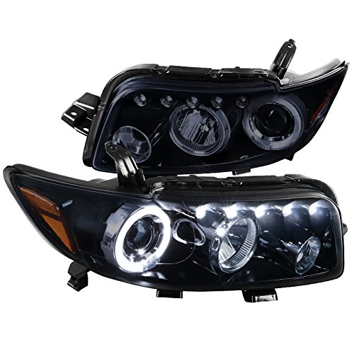 Scion xB Replacement Glossy Black Halo LED Projector Headlights Head Lamps Pair by Spec-D Tuning