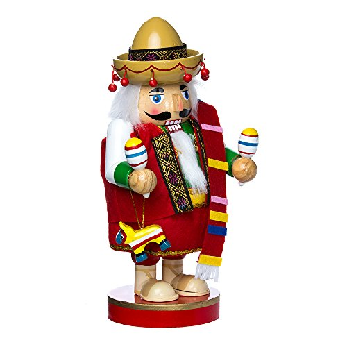 Kurt Adler 10.25-Inch Mexican Nutcracker Tablepiece - Chubby - Feliz Navidad Decorations