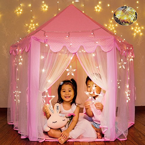 WilWolfer Princess Castle Play Tent Large Kids Play House Star Lights Girls Pink Play Tents Toy Indoor & Outdoor Games by WilWolfer
