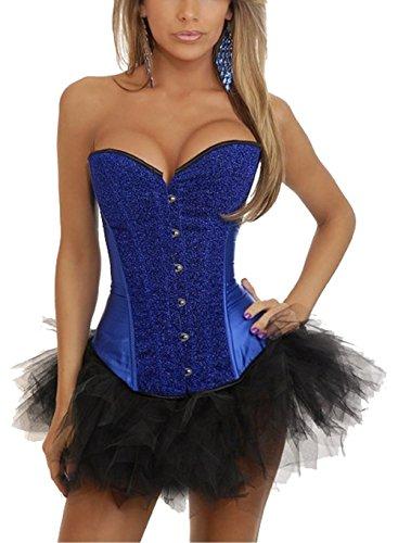 Mujer Lana Negro Tutu Falda Zamme Overbust Azul Vestir Burlesque De Prendas Corset Costume axwwSfd