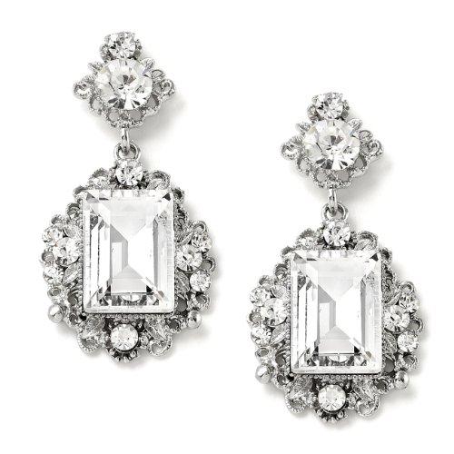 Earrings Shape Rectangle (Rhodium Crystal Rectangle Baghette & Round Circle Shape Rhinestone Linked Dangle Earrings)
