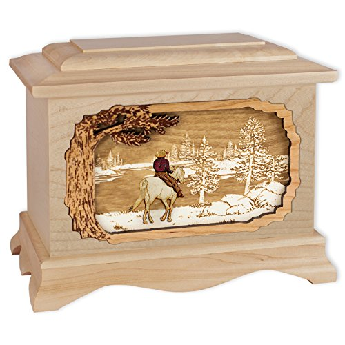 Wooden Cremation Urn - Ambassador Shape Funeral Urn with Great Lakes 3-Dimensional Inlay Art Memorial for Adults w/ Choice of Art Applique (Maple Wood with Horse & Cowboy) ()