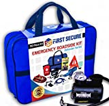 First Secure Car Emergency Kit with Roadside Assistance Jumper Cables Portable Air Compressor Tow Strap: more info