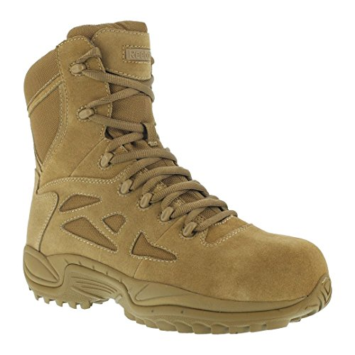 Reebok Mens Coyote Leather Tactical Boots Rapid Response 8in Stealth CT 10 M (Coyote Works)