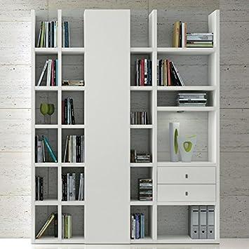 Wohnwand Bücherregal weiß lackiert CD DVD Regal Wohnzimmer Anbauwand ...