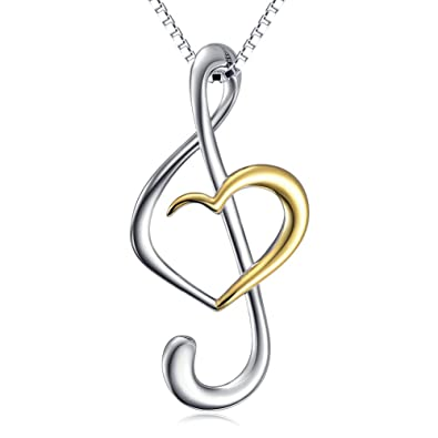 Apotie 925 Sterling Silver Jewelry Music Musical Note Love Heart Pendant Necklaces Rose Gold Plated For Women Chain 18 90cxuBbHog