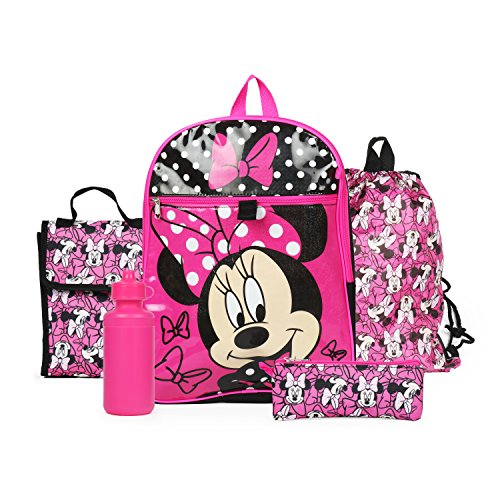 - Ralme Disney Minnie Mouse Pink Backpack Back to School 5 Piece Essentials Set