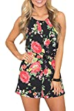 Spadehill Women Summer Sleeveless Halter Short Pants Rompers Strap Backless Playsuit Cotton Floral Beach Jumpsuit Black S