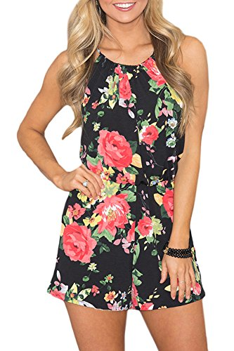 Spadehill Women Summer Cotton Floral Short Pants Rompers Halter Strap Playsuit Sleeveless Backless Beach Jumpsuit Black 2XL (Romper 20)